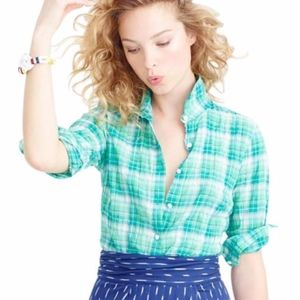 NWT J. Crew Perfect Shirt in Green Crinkle Plaid